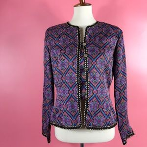 Vtg 80s Adrianna Papell Paisley Button Jacket 8 M